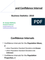 Estimation and Confidence Interval - session 9 &10