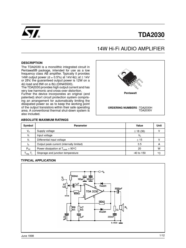 Ic Tda 2030 Amplifier Electronic Circuits Schematic Audio With Tda2030