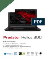 Acer Predator Helios 300 Specification (Portuguese)