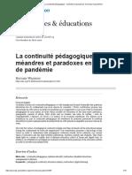 La continuité pédagogique, méandres et paradoxes en temps de pandémie (S. Wagnon)