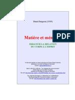 1- Bergson - Matière et Mémoire 1896