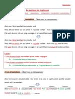 FRANCAIS 5° - Grammaire - Syntaxe de la phrase