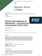 Eric WAUTERS. Presse francophone et Révolution, la lecture de l'événement 1789-1793
