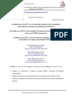 la influencia de las tics en el desarrollo academico de los estudiantes universitarios en tiempos de pandemia por covid 19