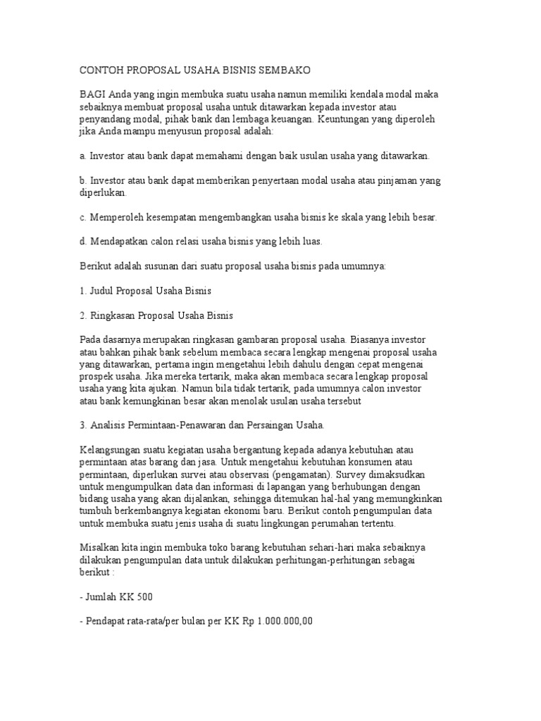 Contoh Proposal Usaha Bisnis Sembako