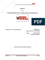 A Survey on Consumer Perception of Hero Honda Splendor Plus