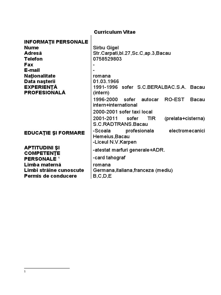 curriculum vitae model european limba germana