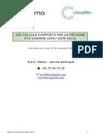 APPORTS - CALCUL PAR LA METHODE RTS 2005-2009-2013