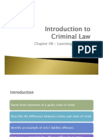 Chapter 08 Intro to Criminal Law - Learning Outcomes