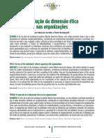 A redução da dimensão ética nas organizações