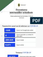 Raportul COVID-19 privind Situația Epidemiologică la 26 septembrie 2021 (ora 17:00):