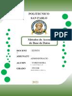 Métodos de Acceso de Base de Datos - YORDY MORA (1)