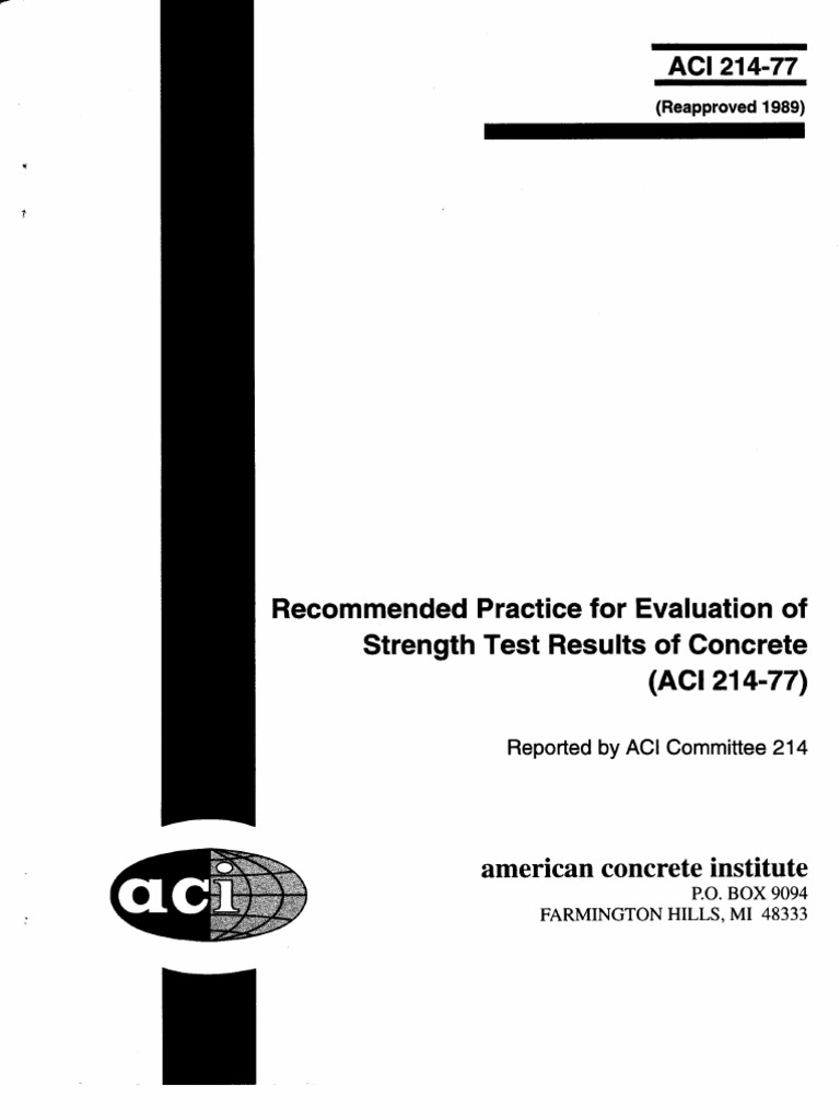 ACI 214-77 Recomended Practice for Evaluation of Strangth