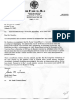 Florida Bar Letter closing complaint filed by Doug Guetzloe