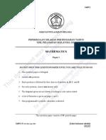 MATHS SPM PAPER 1 QUESTIONS