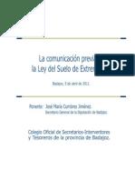 COMUNICACIÓN PREVIA EN LA LEY DEL SUELO_José Mª Cumbres_Secretario General Diputacion