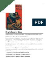 King Solomons Mines - H Rider Haggard