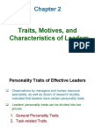 Chapter 2, Traits, Motives and Characteristics of Leadership