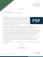 20210927 Rosengren Letter to Chair Announcing Retirement