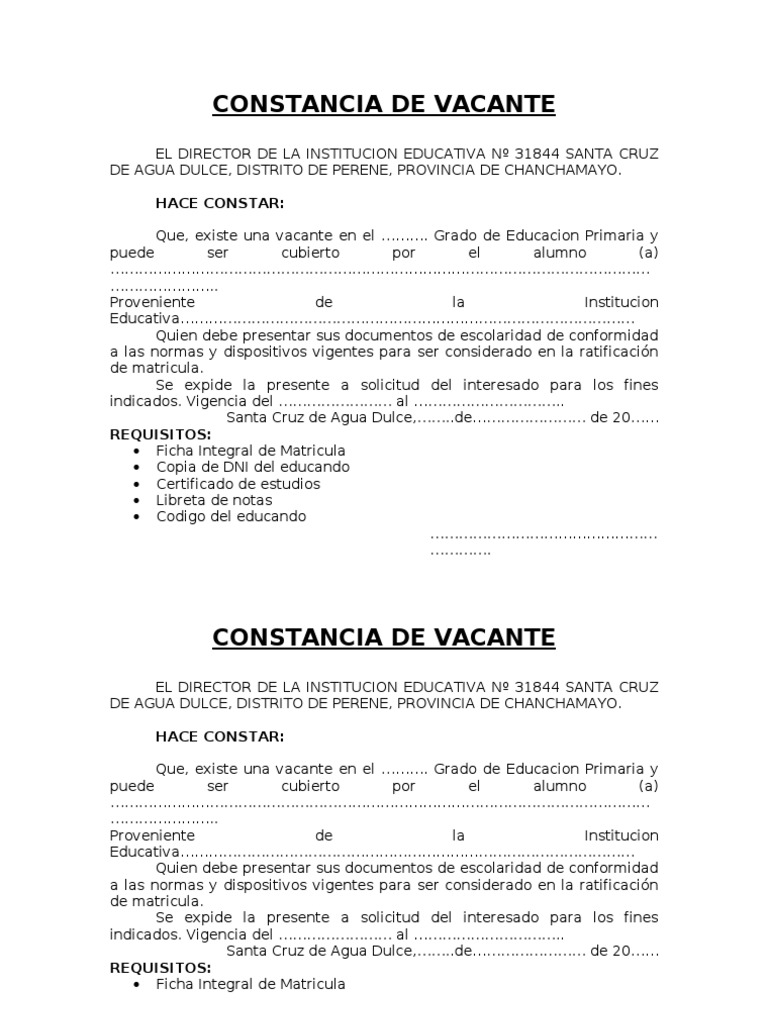 Constancia de vacante for Vacantes jardin 2016