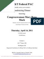 Fundraising Dinner for Mary Bono Mack