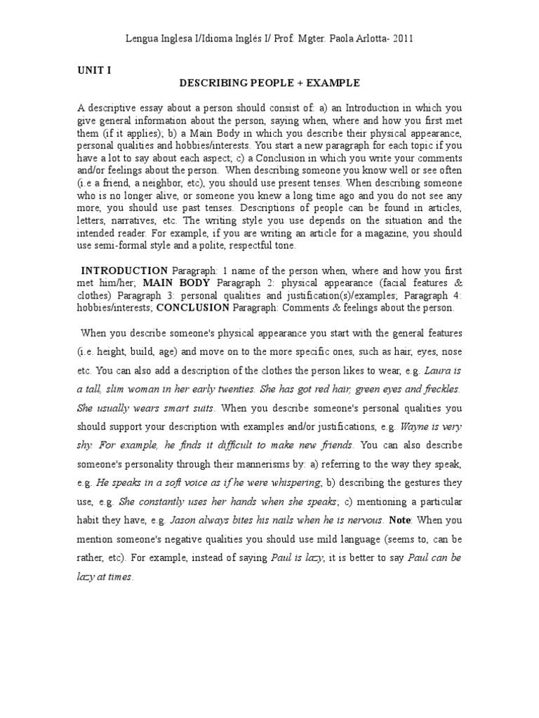 descriptive essay of a person example