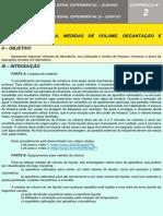 2 LIMPEZA DE VIDRARIA, MEDIDAS DE VOLUME, DECANTAÇÃO E FILTRAÇÃO