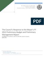 Budget Response FY 2012 FINAL