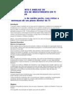LEVANTAMENTO E ANÁLISE DE NECESSIDADES DE INVESTIMENTO EM TI CORPORATIVA
