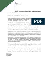 Discurs d'Aragonès al debat sobre l'orientació política  general del Govern