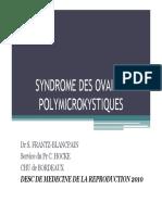 SYNDROME DES OVAIRES POLYMICROKYSTIQUES. Dr S. FRANTZ-BLANCPAIN