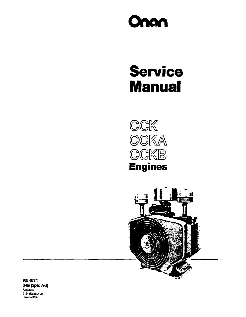 Onan Service Manual CCK Engine 927-0754