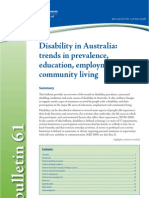 disability in Australia; trends in prevalence, education, employment and living