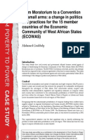 From Moratorium to a Convention on Small Arms: A change in politics and practices for the 15 member countries of the Economic Community of West African States (ECOWAS)