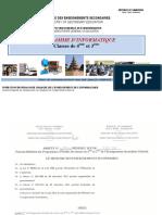 Programme d'Informatique 4ème Et 3ème_ESG_ Dec 2014
