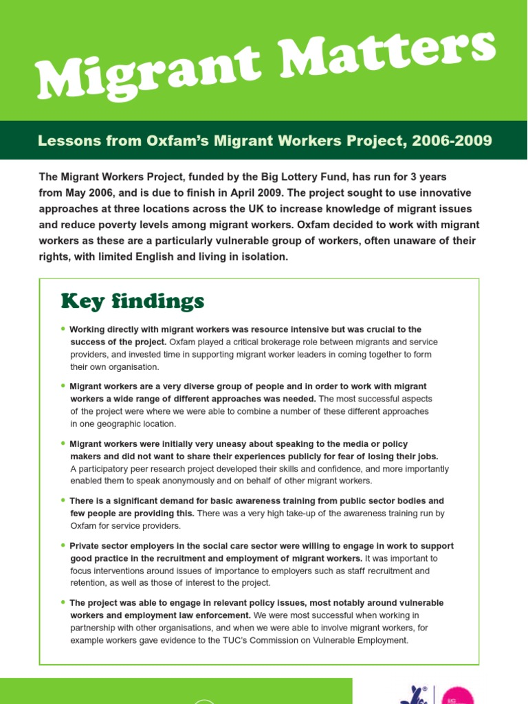 Migrant Matters: Lessons from Oxfam's Migrant Workers Project, 2006