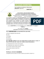 AVALIAÇÃO BIMESTRAL 8º ANO - CIEN