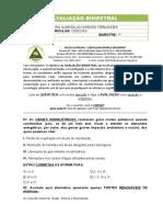 AVALIAÇÃO BIMESTRAL 9º ANO - CIEN