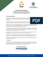 Informe de situación sobre coronavirus COVID-19 en Uruguay (29 09 2021)