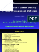 Current Status of Bioindustry in Korea