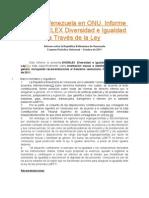 EPU de Venezuela en ONU. Informe de DIVERLEX Diversidad e Igualdad a Través de la Ley