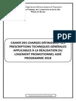 Cahier Des Charges Définissant Les Prescriptions Techniques Générales Applicables à La Réalisation Du Logement Promotionnel Aidé Programme 2018