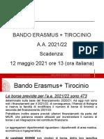 Bando Erasmus+ Tirocinio a.a. 2021_22