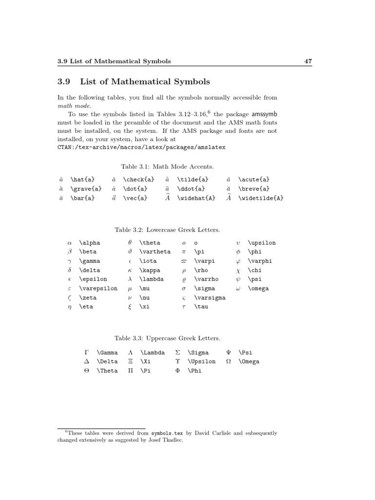 Latex Symbols Greek Alphabet Pi