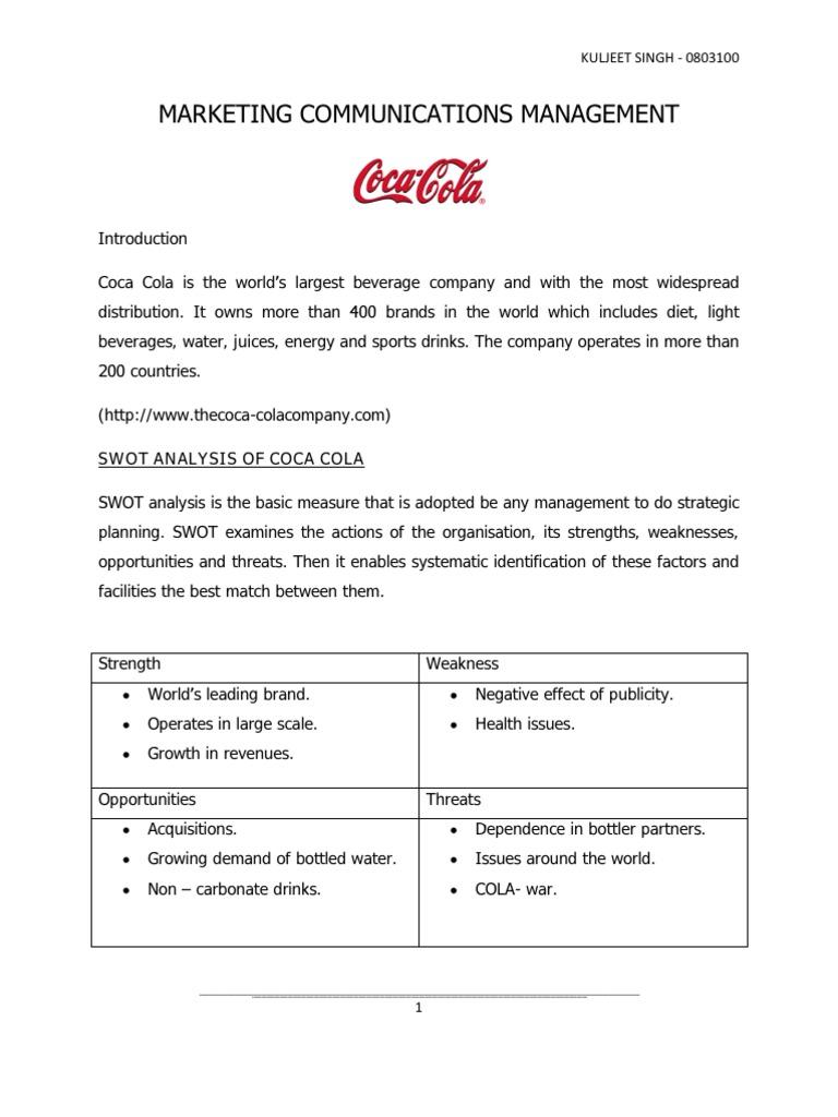 strategic plan for coca cola company