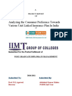 Analyzing the Consumer Preference Towards Various Unit Linked Insurance Plan In India