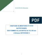 Habitude alimentaire et état nutritionnel des femmes allaitantes de 15 à 49 ans à Belazao Antsirabe II (RAVELONIAINA Bodomalala/2007)