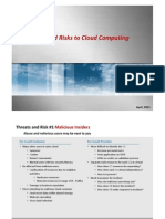 Threats and Risks to Cloud Computing
