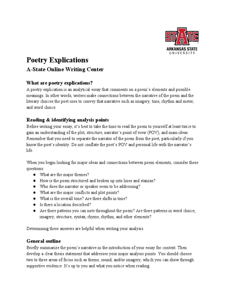 Poetry+Explications  PDF  Poetry  Narration
