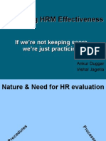 Evaluating HRM Effectiveness
